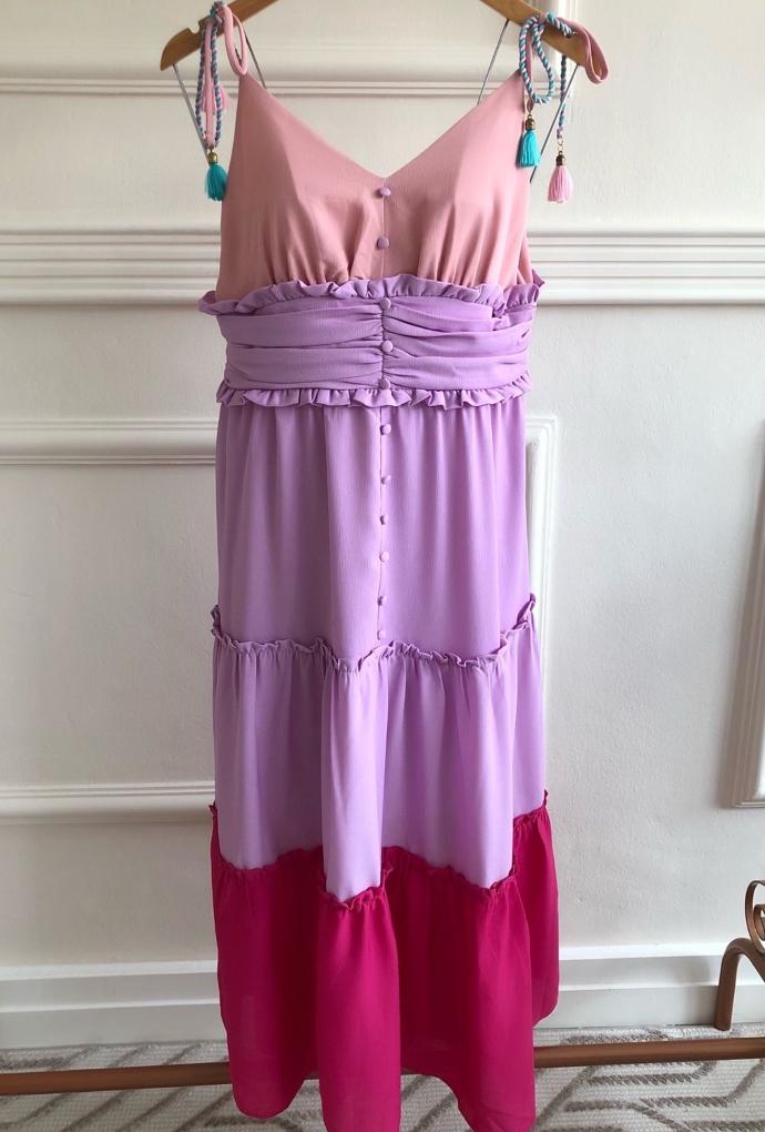 Vestido Tricolor cordão colorido