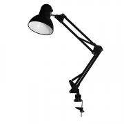 Luminária Articulável C/ Garra cor Preto p/ mesa escritório quarto estudo