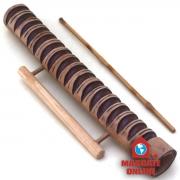 Reco Reco bambu 40cm com alça - Ranhuras grandes e pequenas