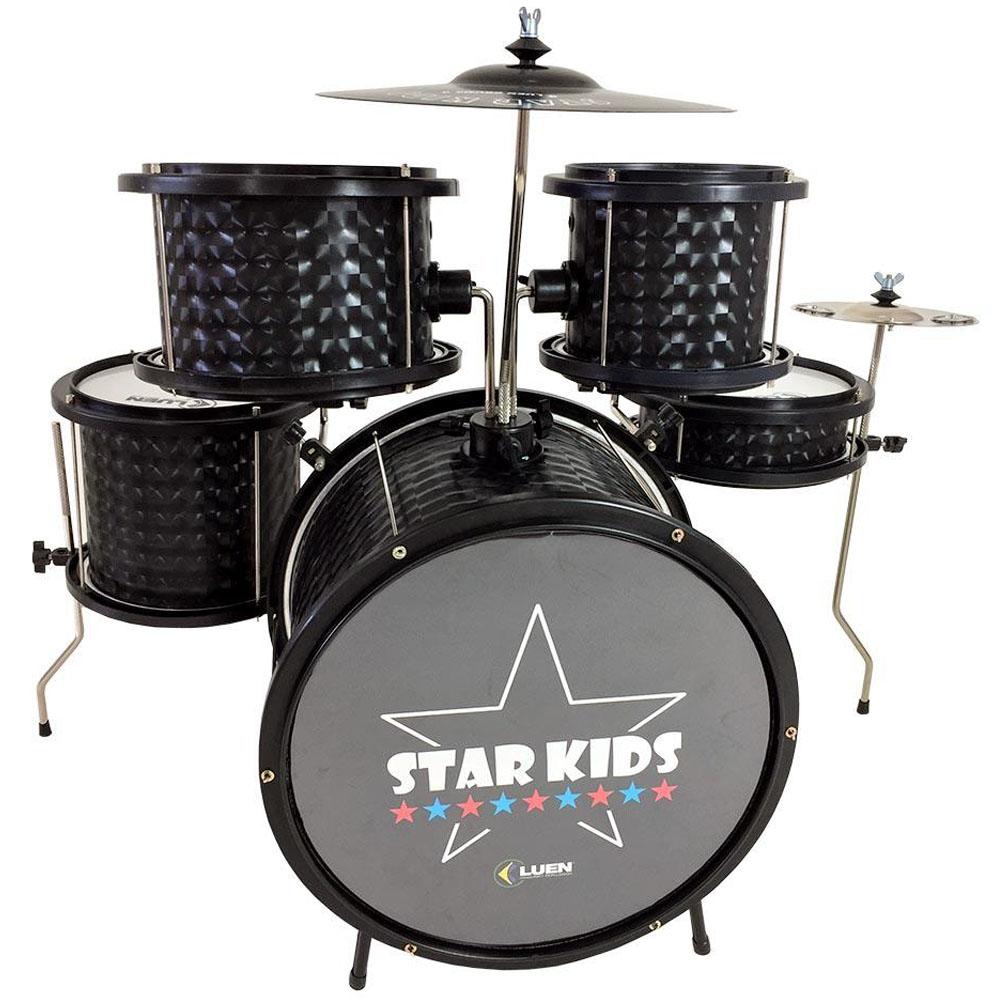 Bateria infantil completa Luen Star Kids PRETA