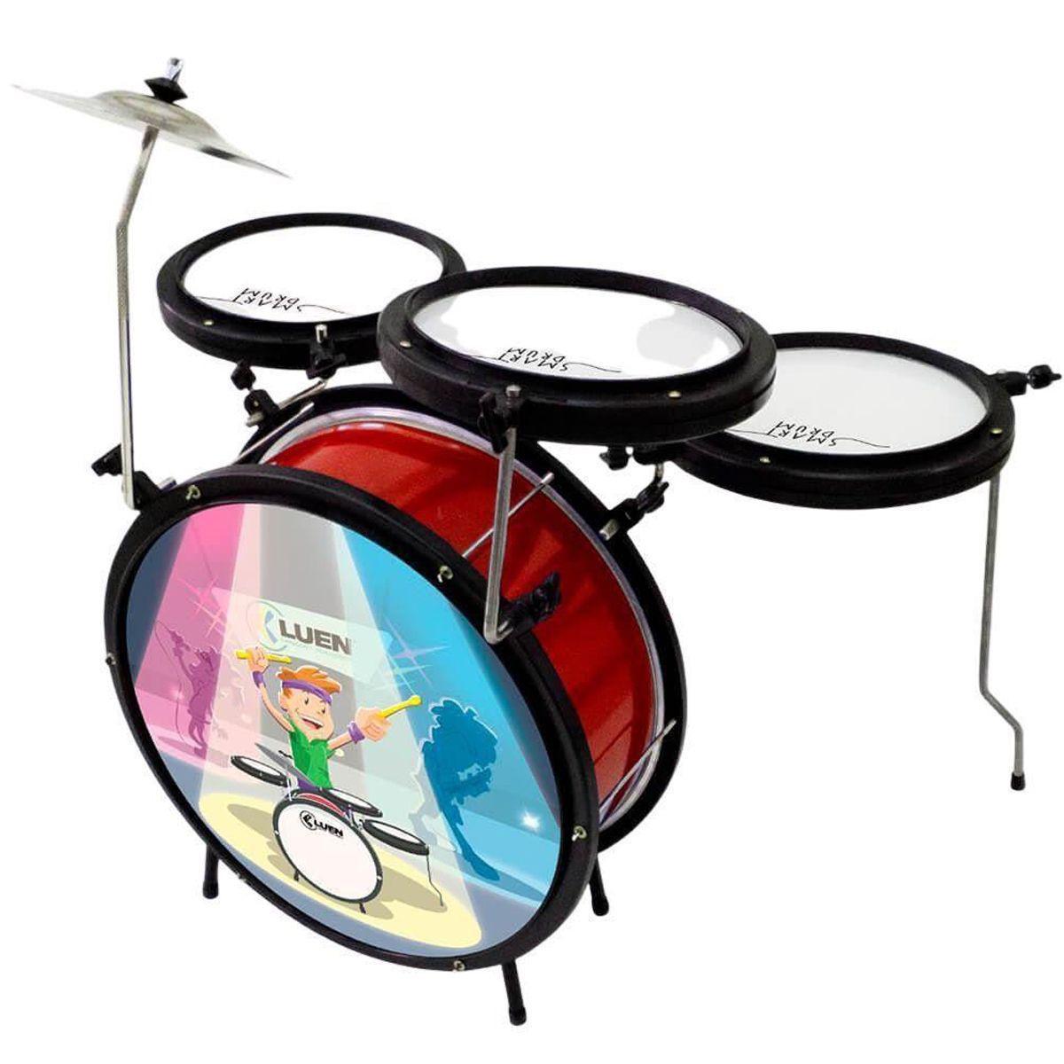 Bateria infantil Smart Drum VERMELHA - Luen 44007VM