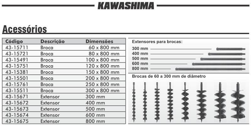 Broca p/ Perfurador Solo 80cm x 12cm Kawashima