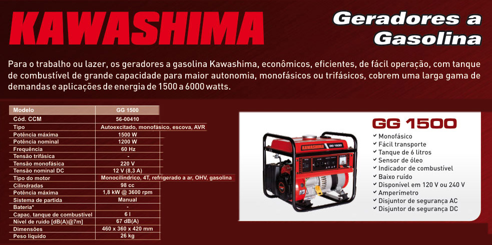 Gerador 1500W 220V Kawashima GG 1500