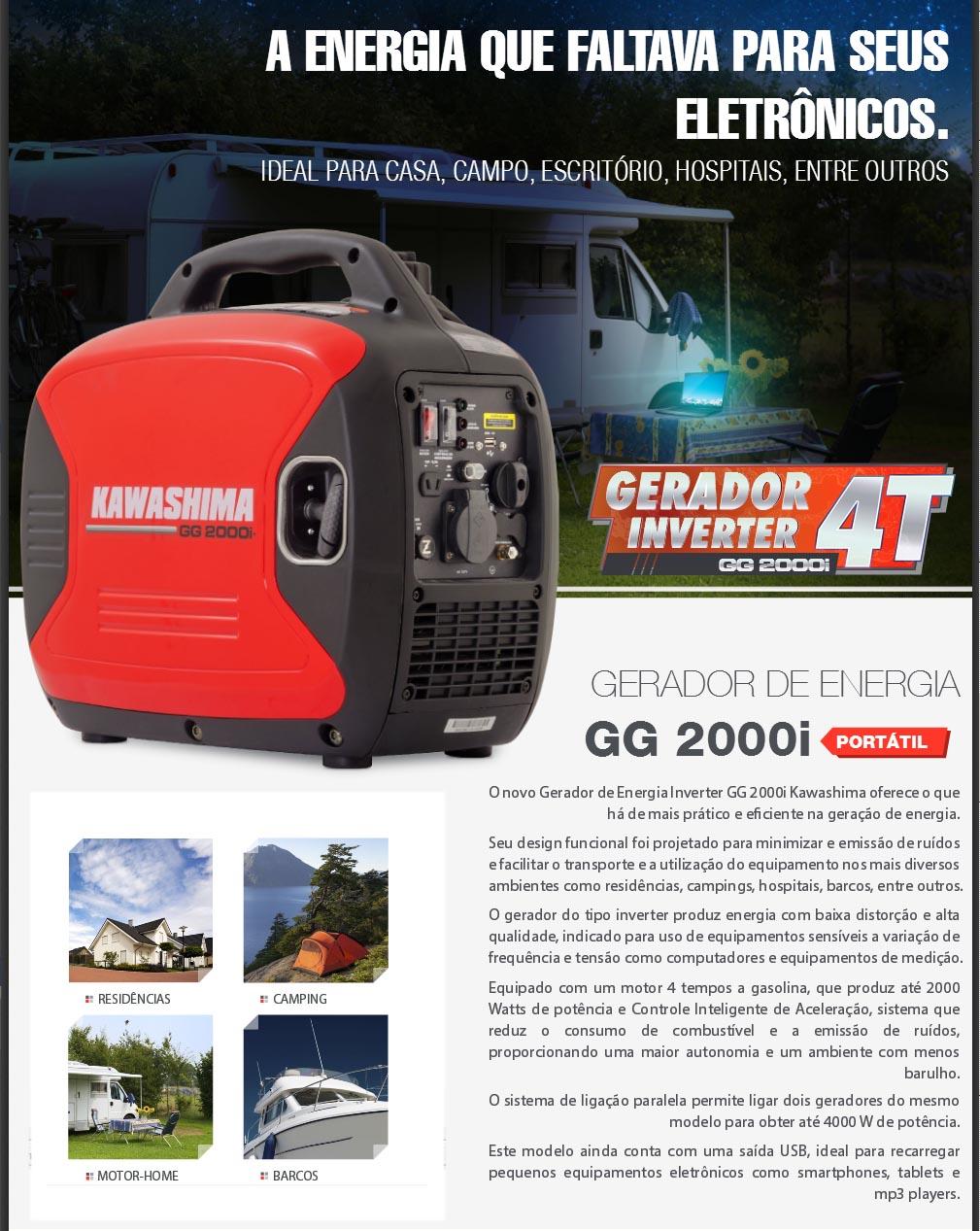 Gerador de Energia a Gasolina 2,3kW 127V Kawashima GG 2000i