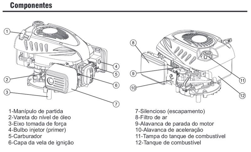 Motor 6HP Kawashima GV600C eixo curto com Freio de Segurança