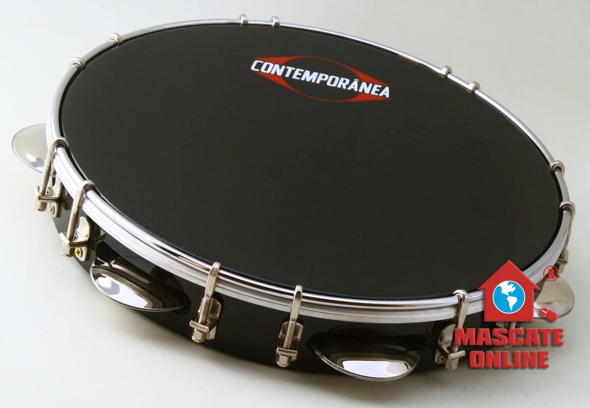 """Pandeiro 10"""" Fórmica - pele preta - Contemporânea 31PPC"""
