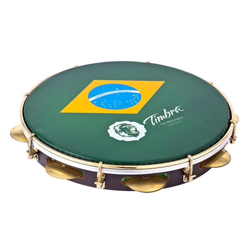 """Pandeiro 12"""" Brasil em Madeira - Timbra 8674"""