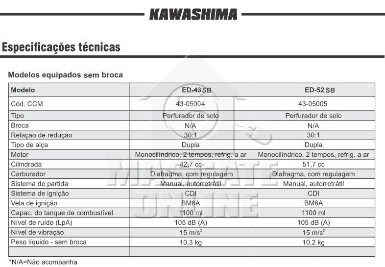 Perfurador de Solo 52cc Kawashima ED52SB