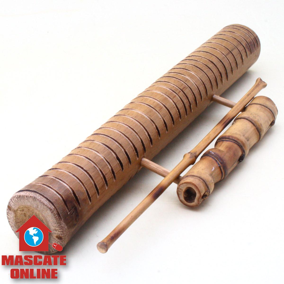 Reco Reco bambu 40cm com alça - Ranhuras médias e pequenas