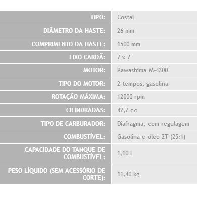 Roçadeira Costal 43cc Kawashima Premium KW 4300-C