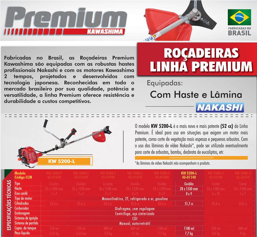 Roçadeira gasolina 52cc Kawashima Premium KW5200-L