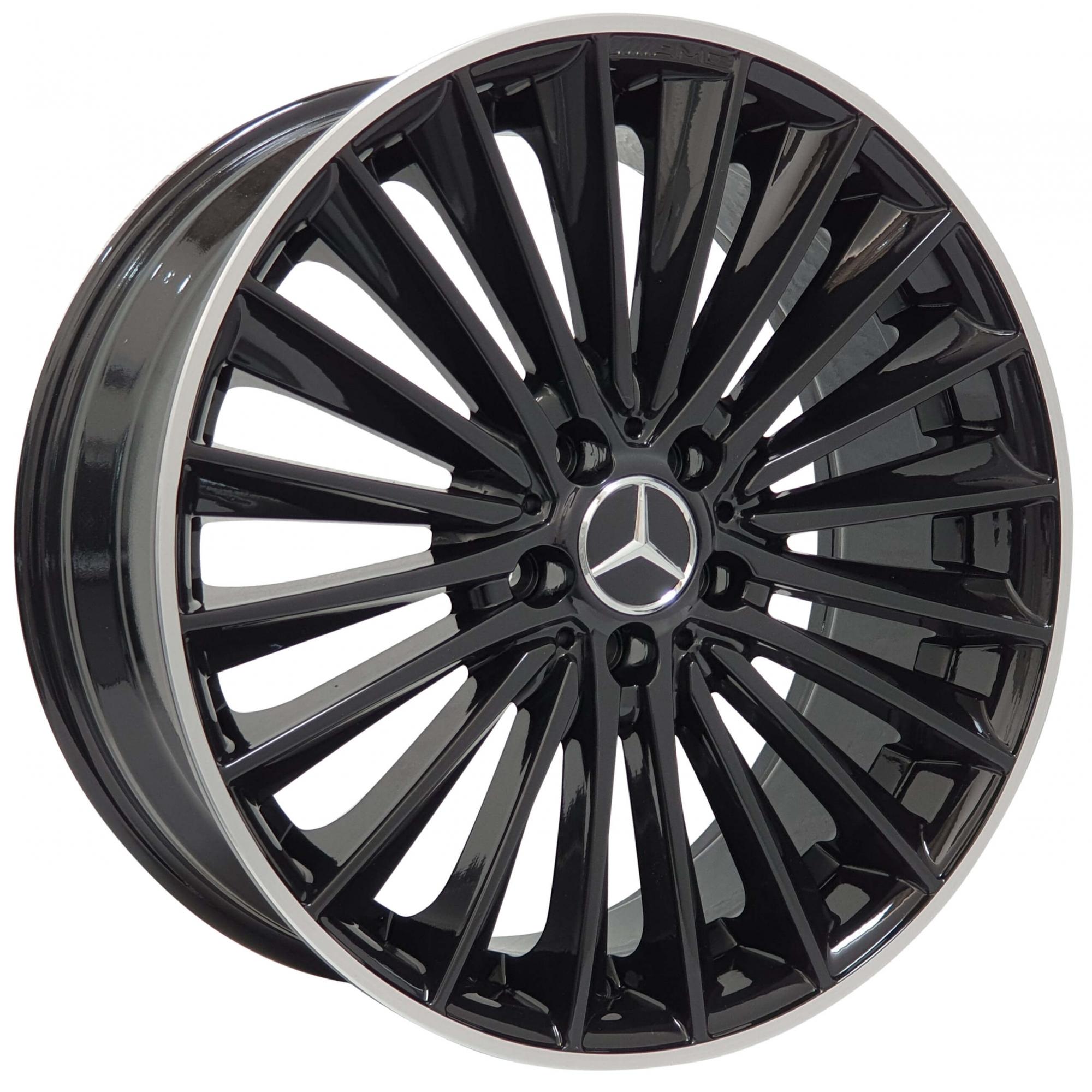 Jogo Rodas Mercedes C200 Zeus ZWMA3 20x8/9 5x112 (ET45/50) Preto Brilhante C/ Filete Diamantado