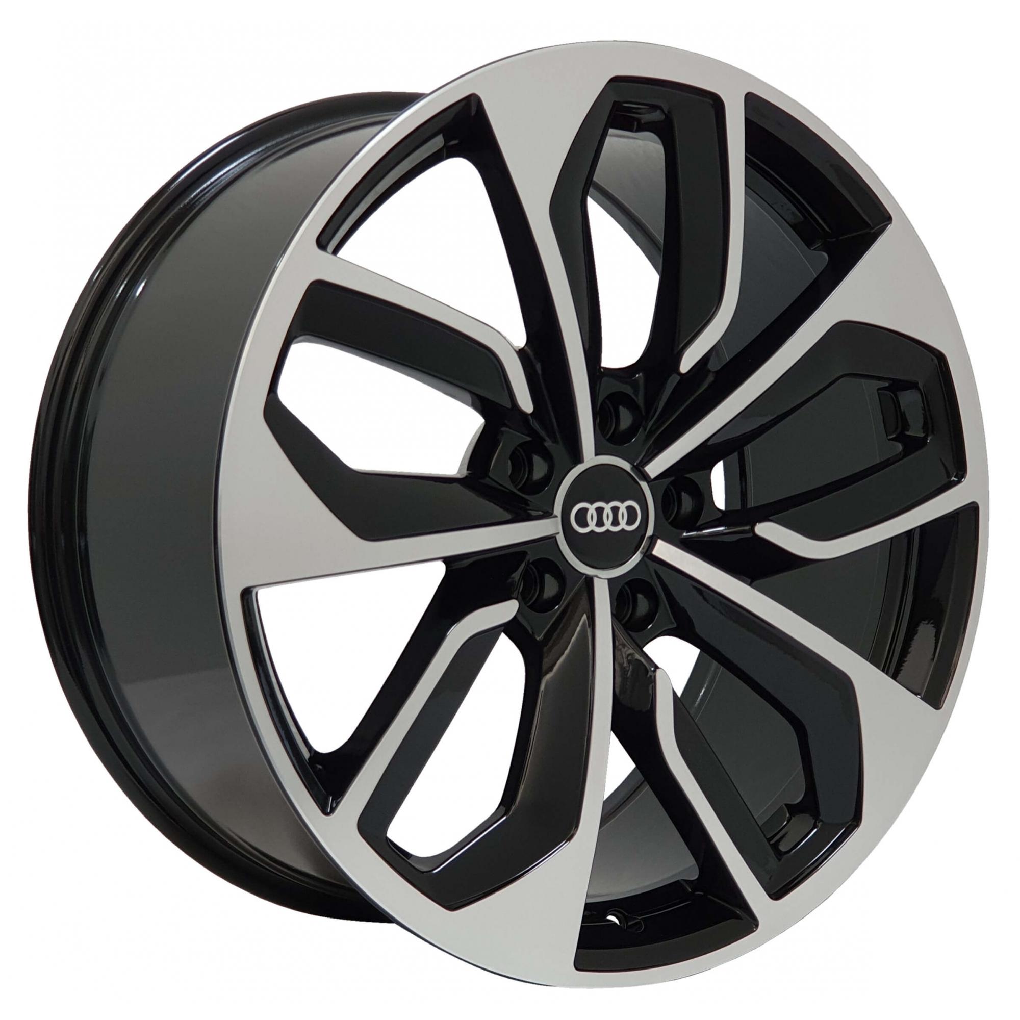 Jogo Rodas Audi RS4 Zeus ZWRS4 Aro 19 5x112 (ET 35) Preto Brilhante Diamantado