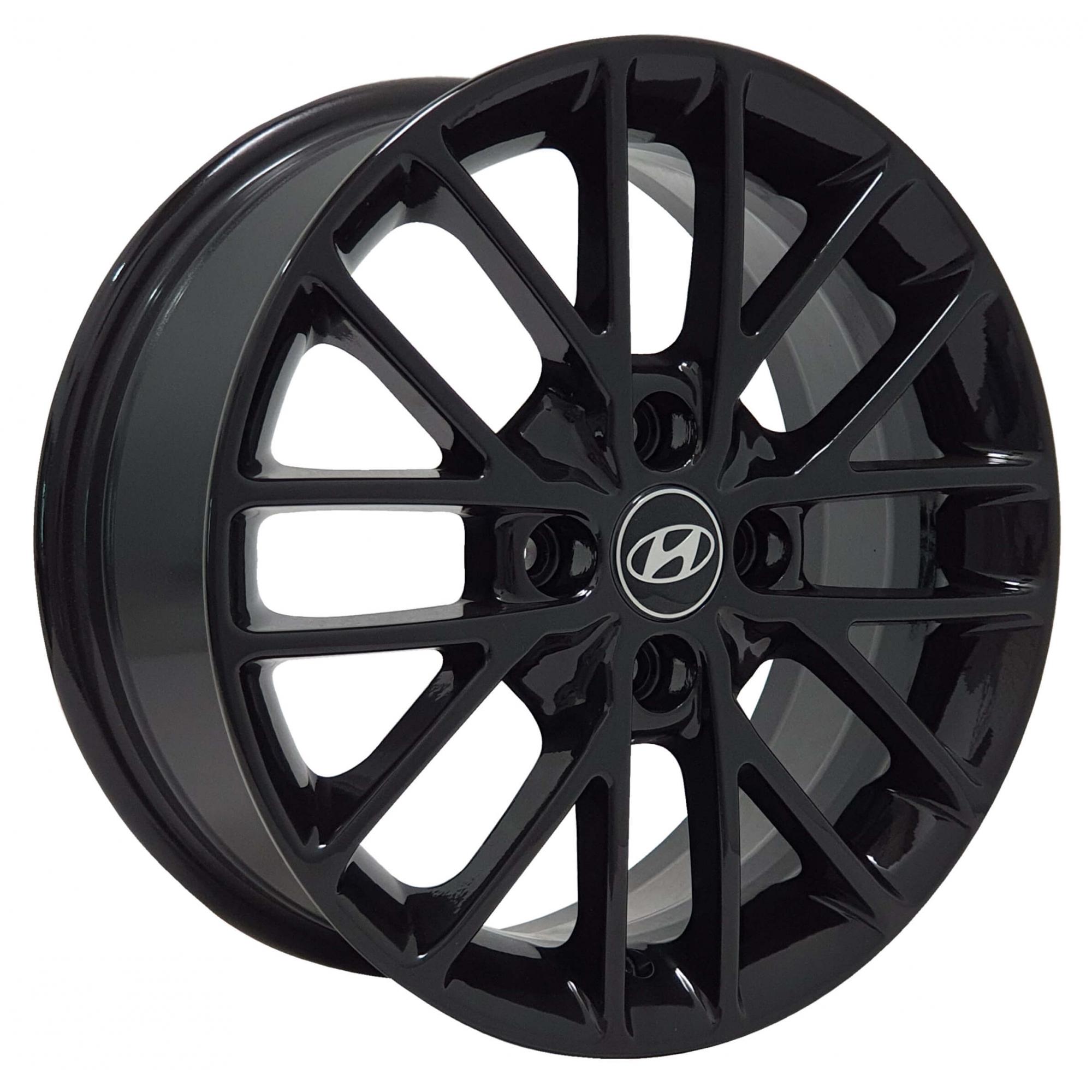 Jogo Rodas Hyundai EWB20 15X60 4X100 ET:40 CB:72,6 Preto Brilhante