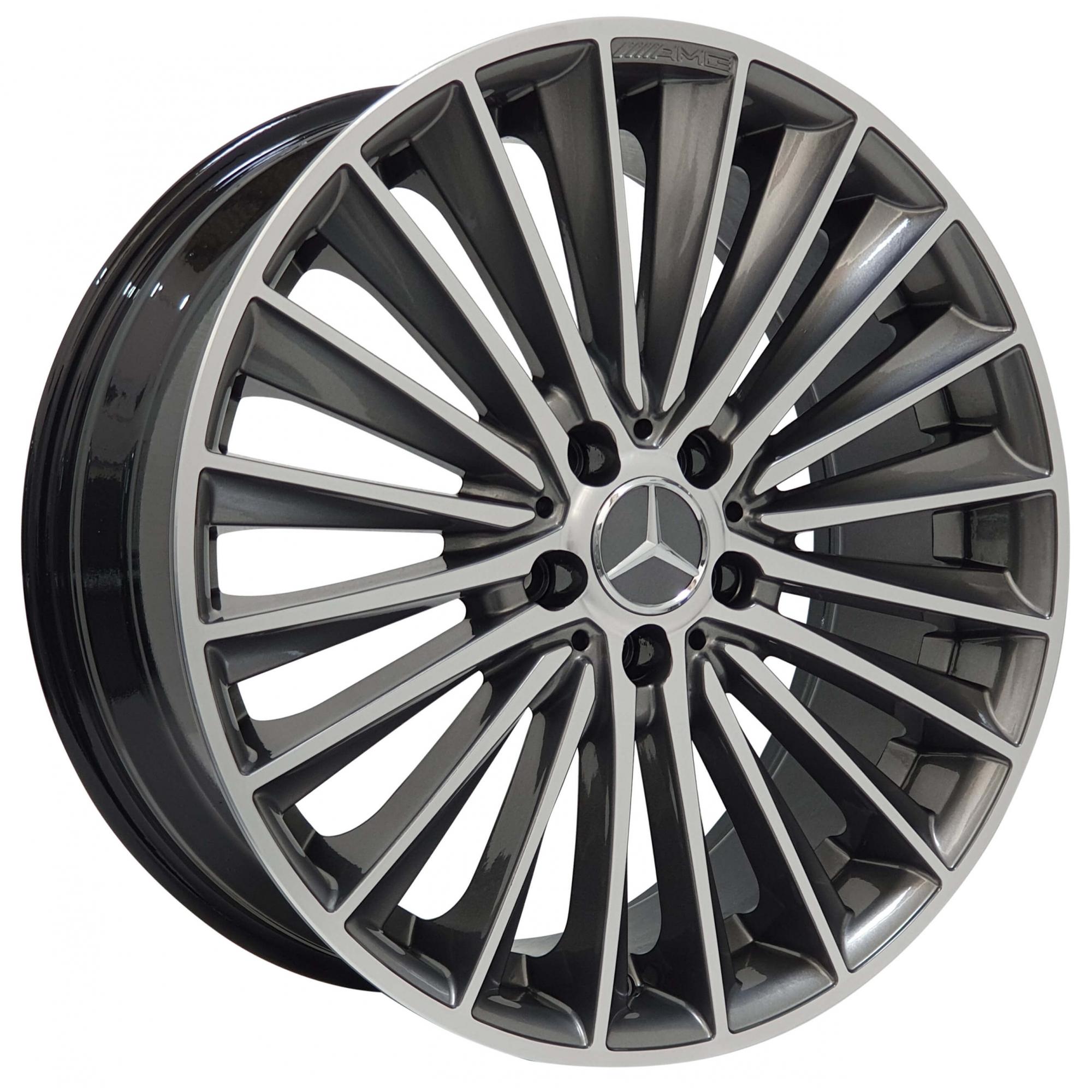 Jogo Rodas Mercedes C200 Zeus ZWMA3 20x8/9 5x112 (ET55/50) Grafite Diamantado Brilhante