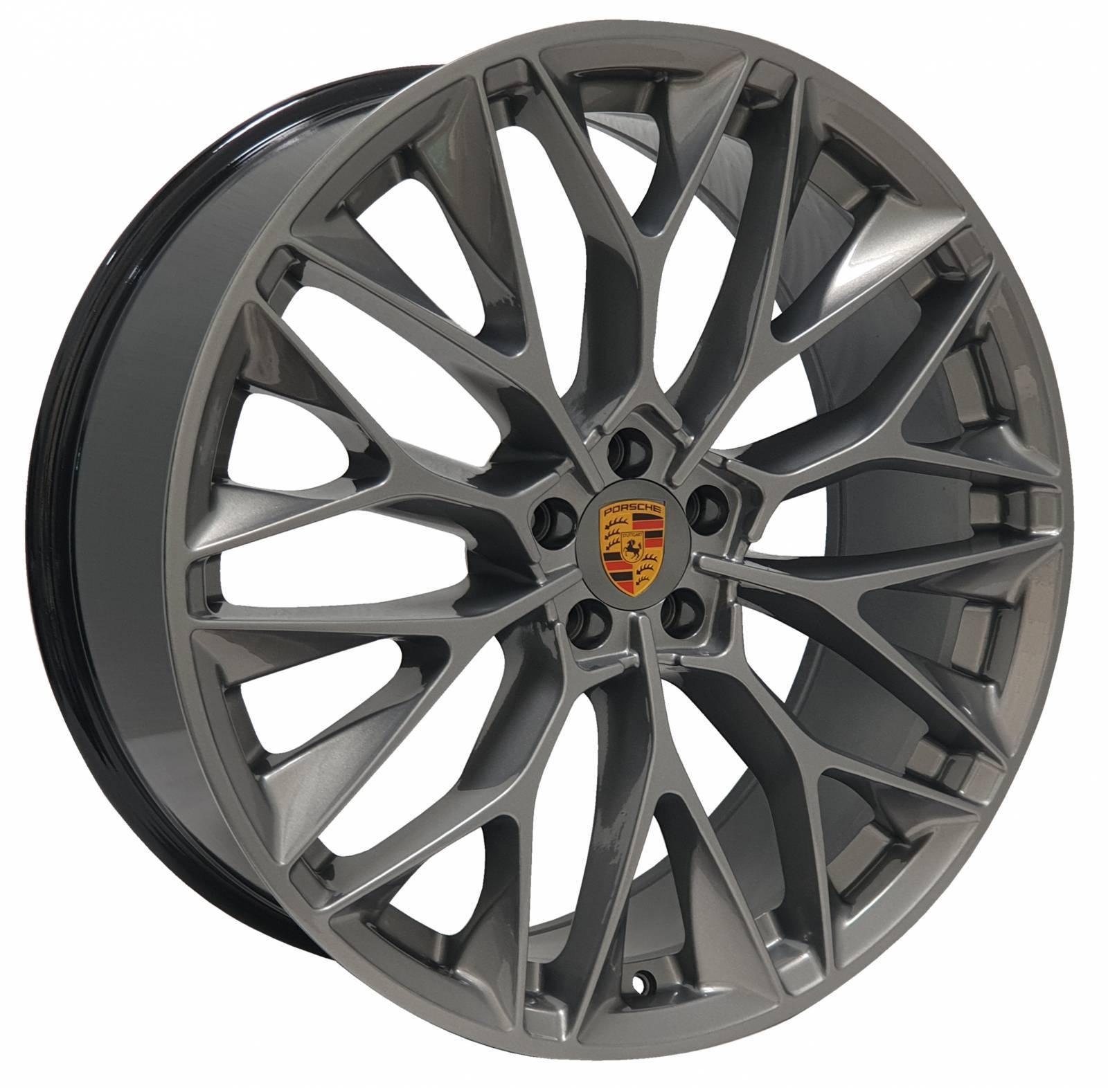 Jogo Rodas Porsche Macan P-200 ZWPC1 22X90 5X112 (ET:22 e 28) CB:66,6 Grafite Brilhante