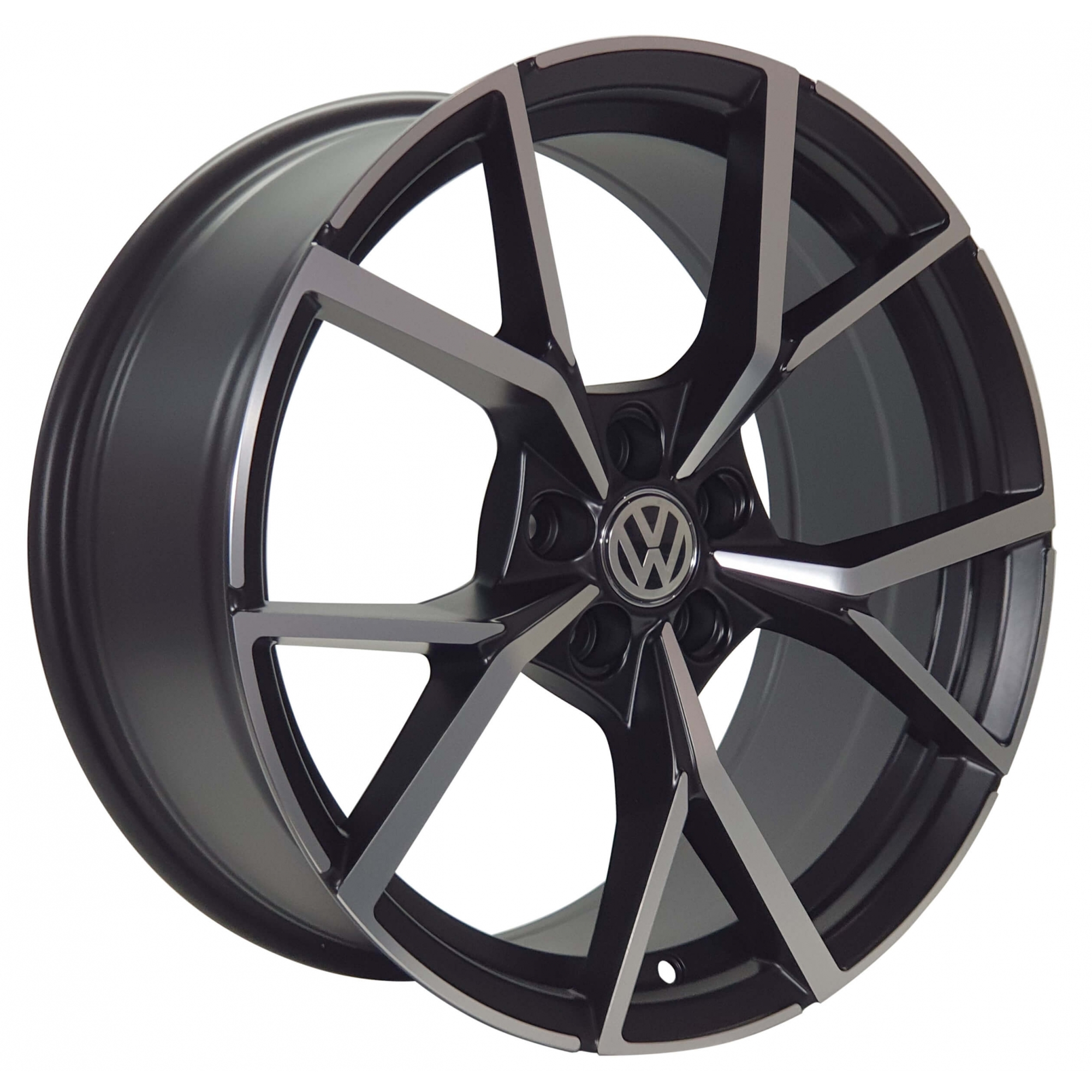 Jogo Rodas VW Touareg R/Golf R Aro 18x80 5x100 Preto Semi Brilho Diamantado