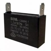 Capacitor para Ar Condicionado Split Simples 1.5 uF 450v quadrado. EOS