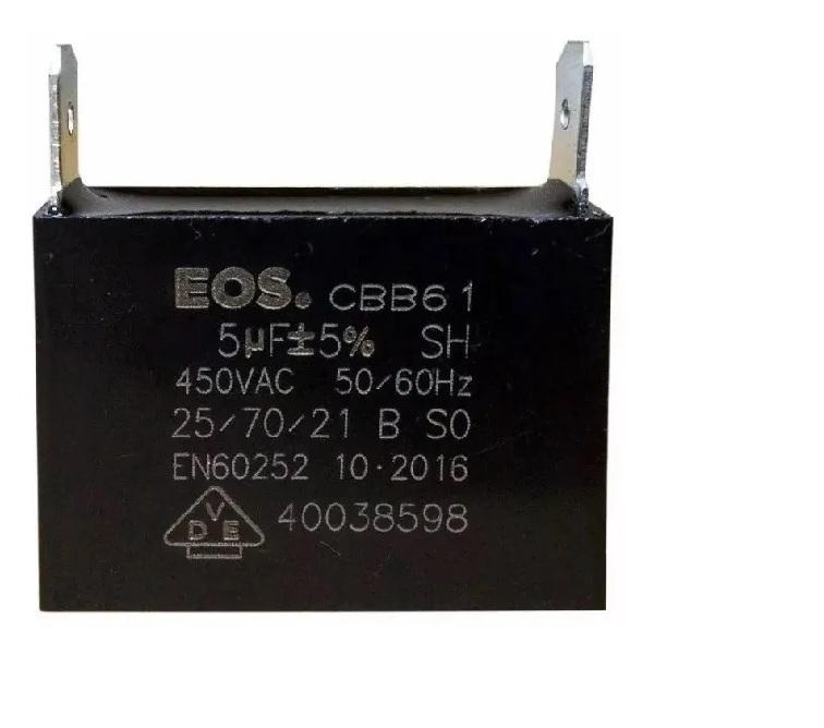 Capacitor para Ar Condicionado Split Simples 5 uF 450v quadrado. EOS