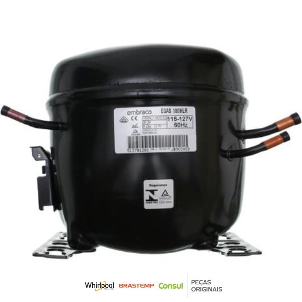 Compressor 1/3 110V R134a Embraco EGAS100HLR - W10393814