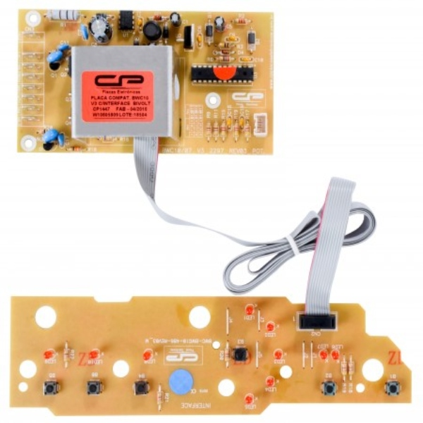 Kit Placa Potência e Interface Compatível com Lavadora Brastemp W10212556 | W10605794 | W10605809 - CP1447