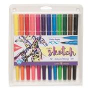 Dual Brush Pen + Ponta Fina Sketch c/12 Cores - Tris