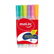 Marca Texto Fluorescente com Glitter - Molin (6 cores)