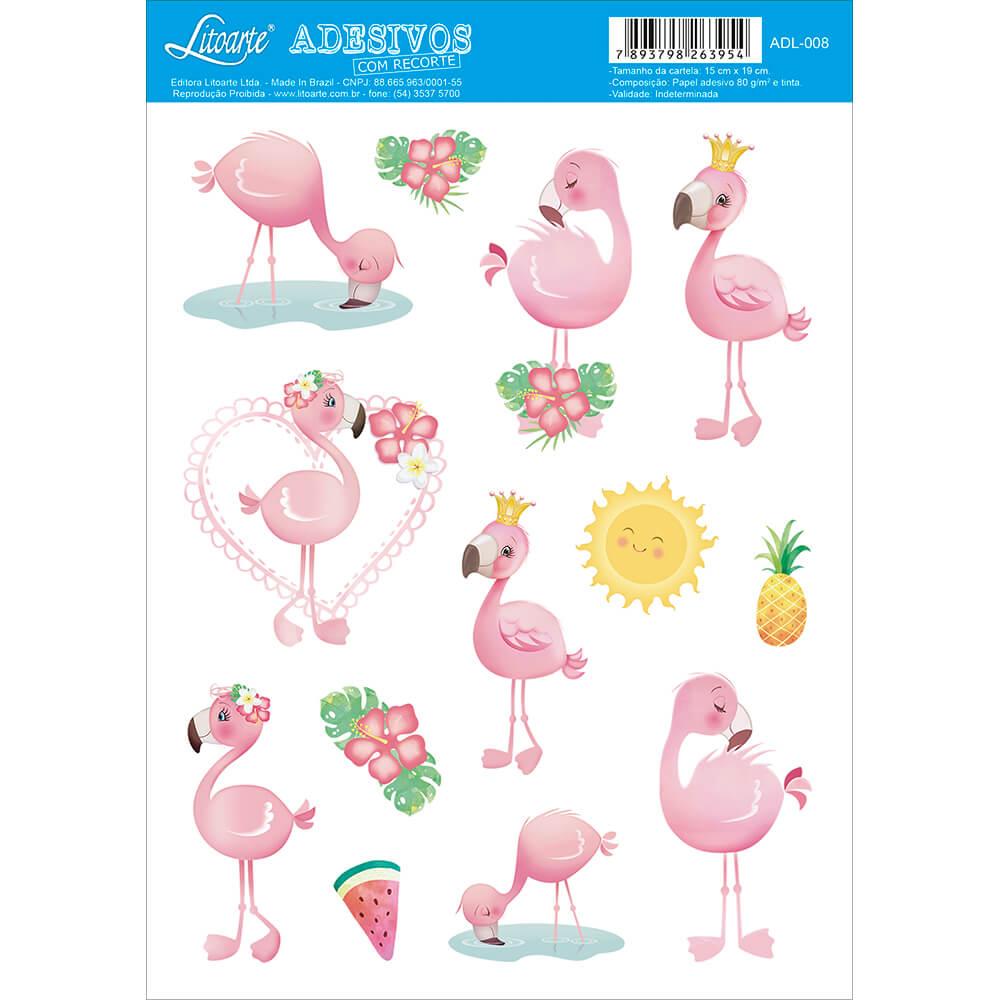 Adesivo Flamingos Cute - Litoarte