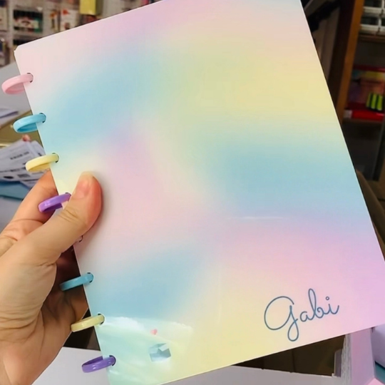 Caderno Tie Dye com REFIL DEGRADÊ e Discos Coloridos