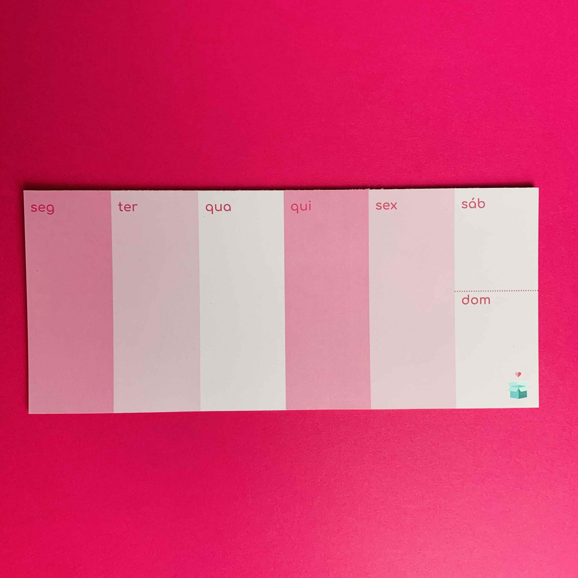 Calendário Semanal Rosa