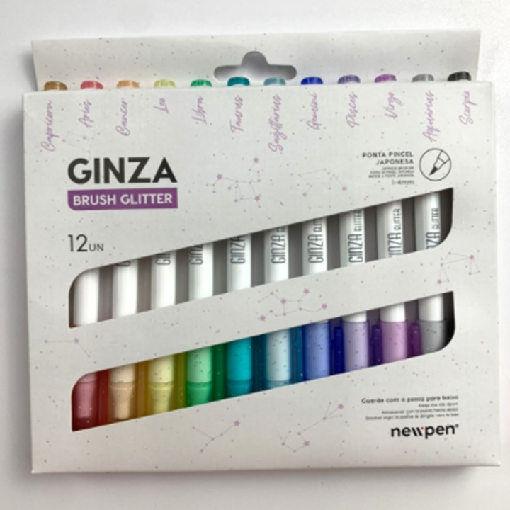 Caneta Ginza Brush Pen Glitter - Newpen