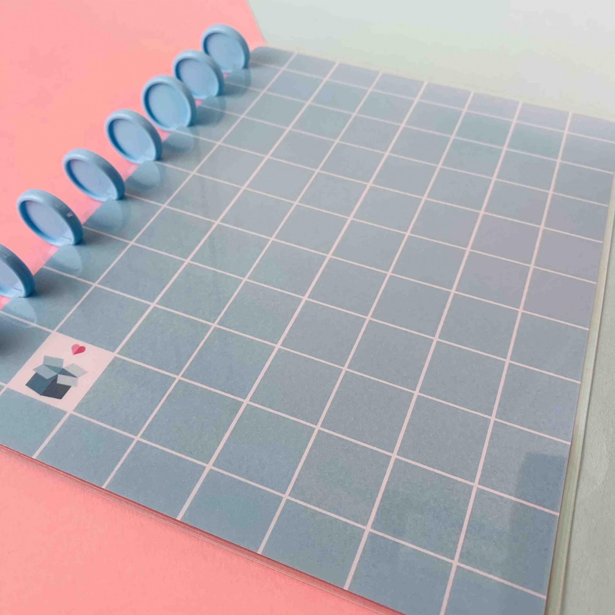 Coleção Geométrica AZUL PASTEL - Caderno de Discos