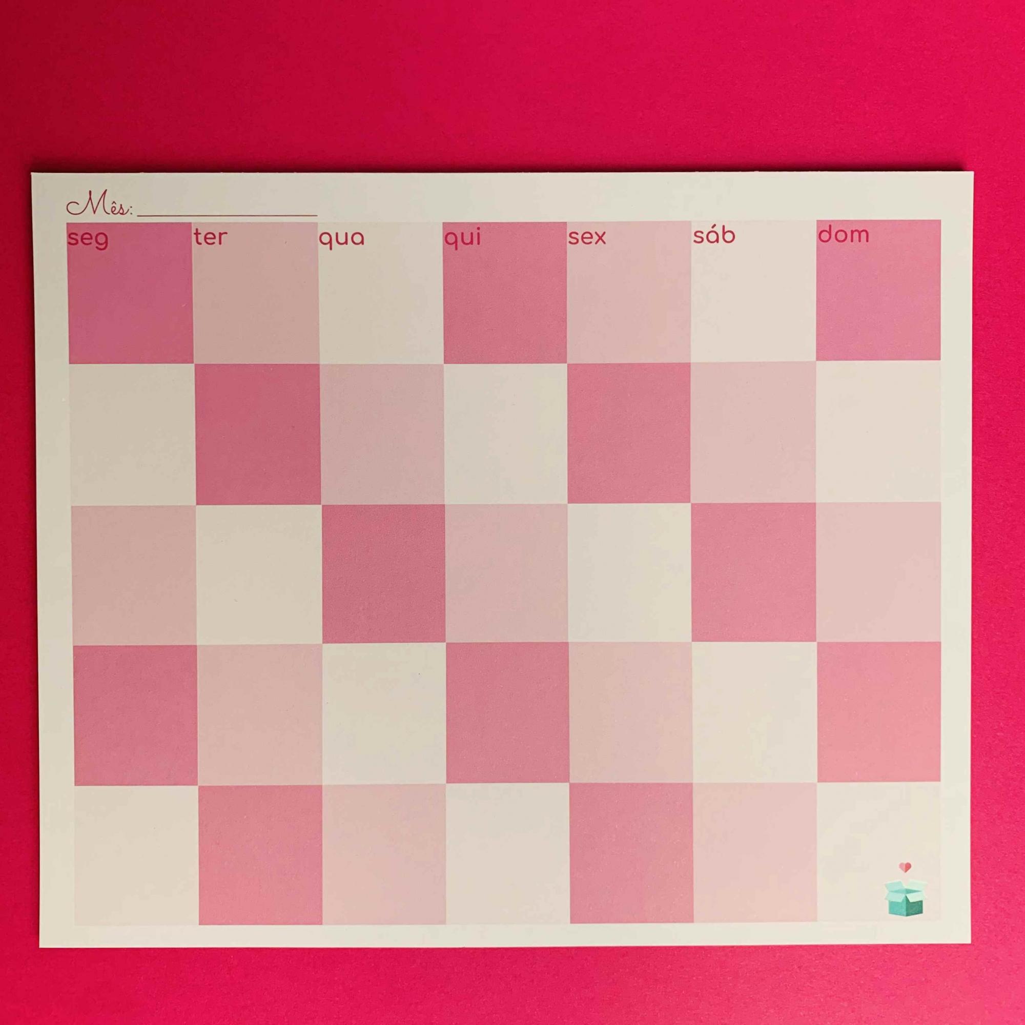 Calendário Mensal Rosa
