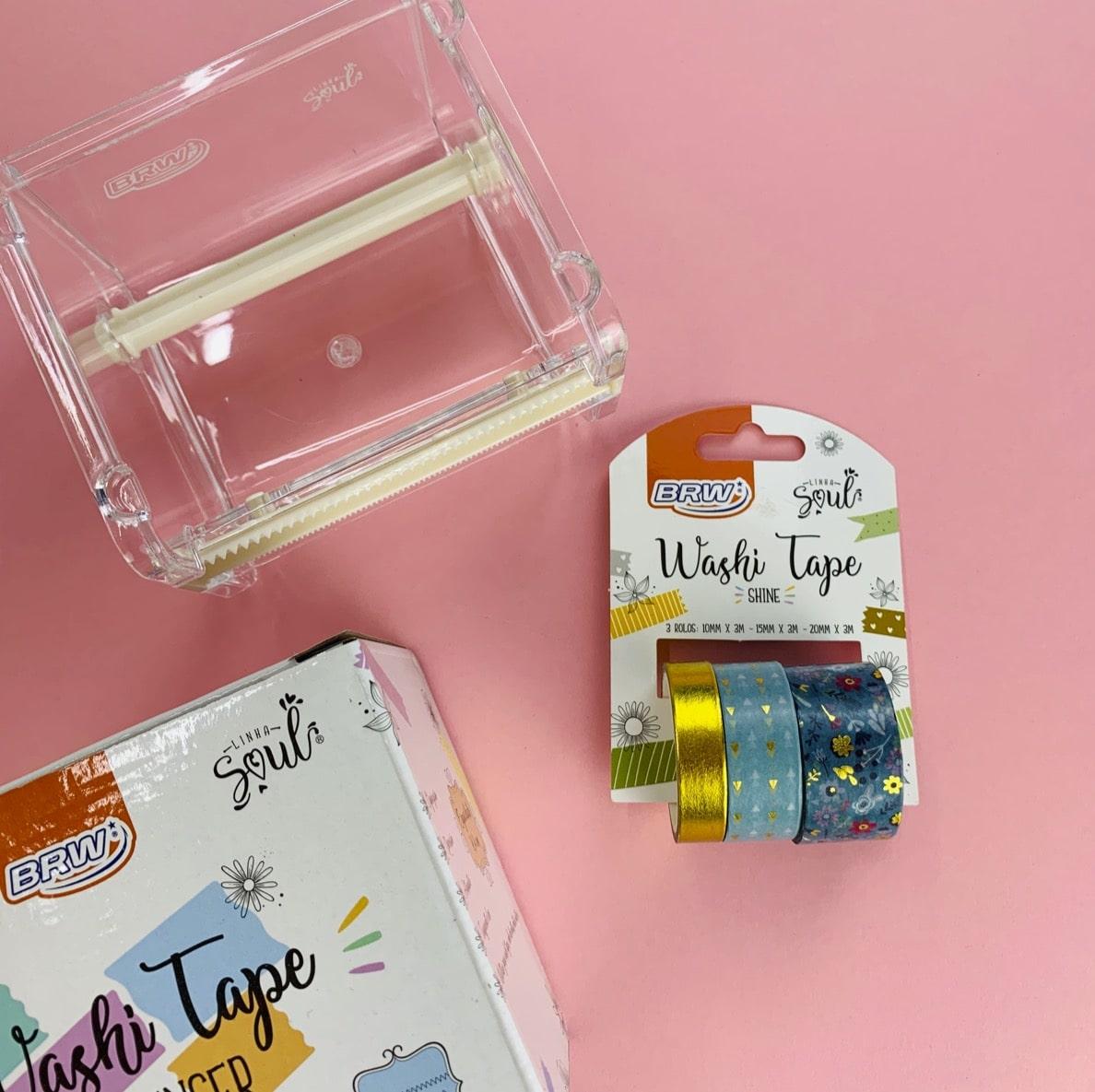 Kit BRW Washi Tape Shine Flor Verde