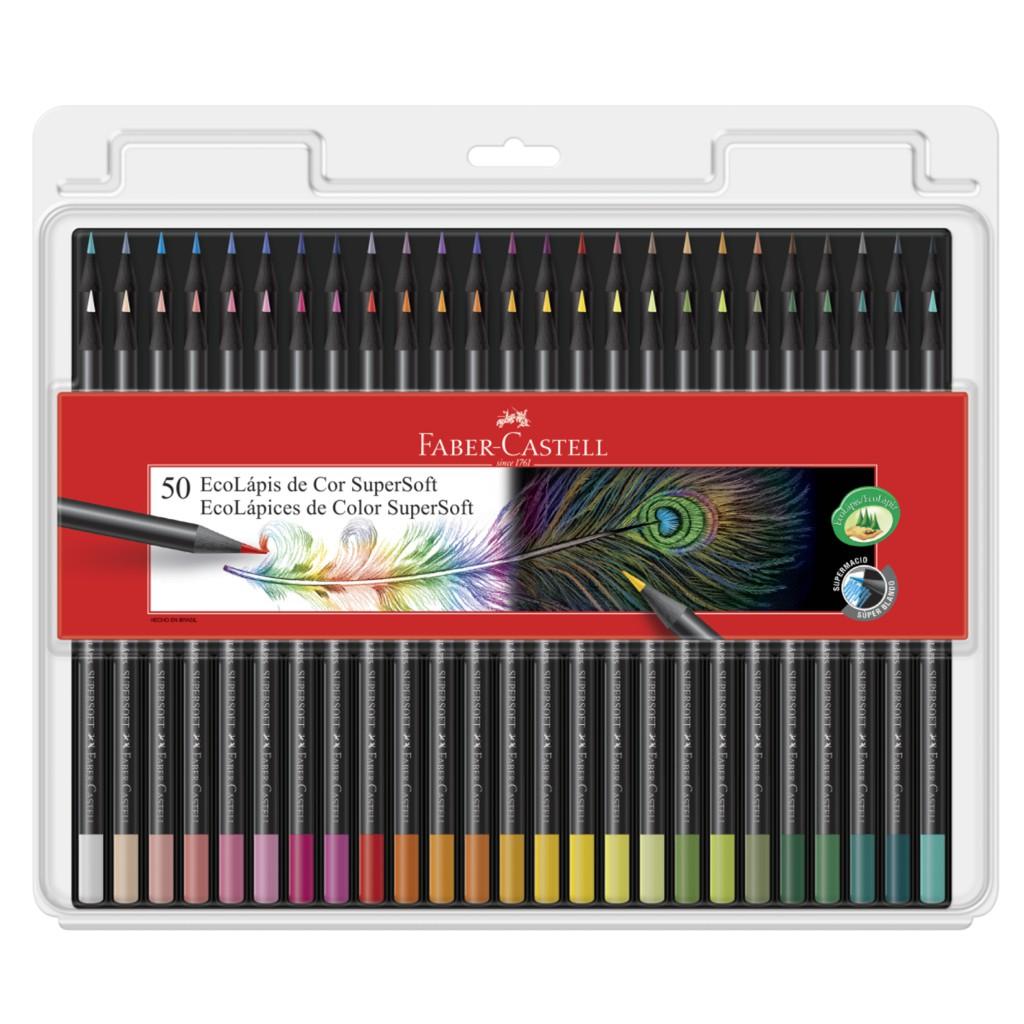 Lápis de cor Ecolápis de Cor Supersoft 50 Cores - Faber Castell