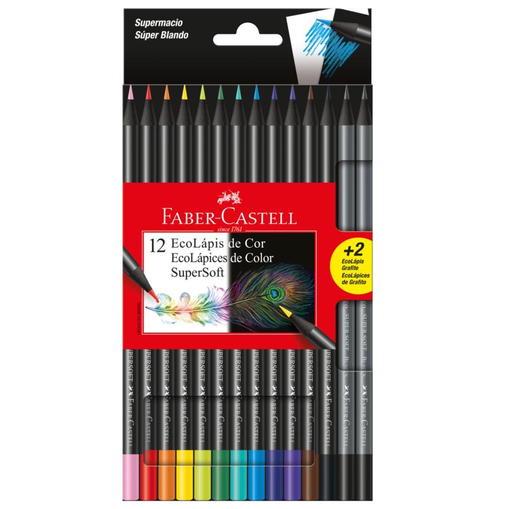 Lápis de cor Ecolápis Supersoft 12 Cores + 2 Grafites - Faber Castell