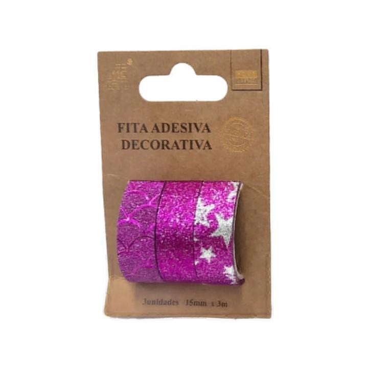 Washi Tape Glitter c/ 3 unidades