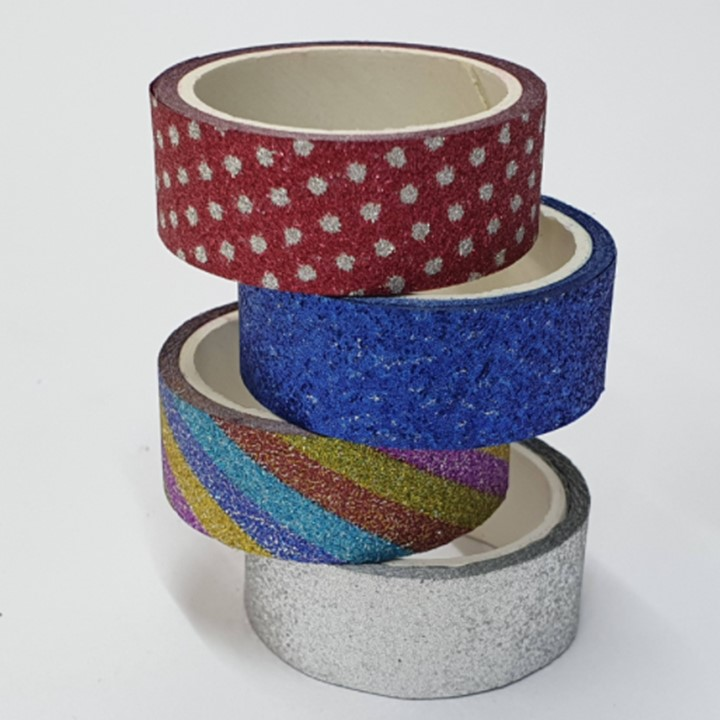 Washi Tape Glitter c/ 4 unidades