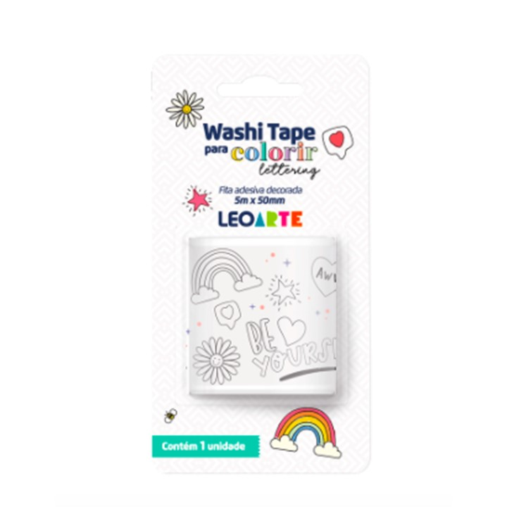 Washi Tape Lettering para Colorir - Leonora