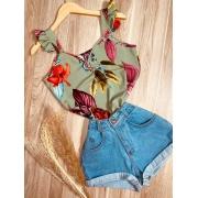 Blusa Alcinha Babadinho Floral Verde