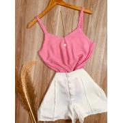 Blusa Alcinha Fashion Trançada Rosa