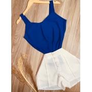 Blusa Alcinha Top Fashion Azul