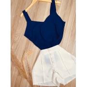 Blusa Alcinha Top Fashion Azul Marinho
