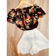 Blusa Ciganinha com Renda Floral Preto