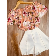 Blusa Ciganinha com Renda Floral Rosê