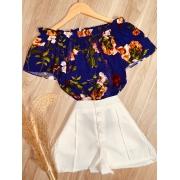 Blusa Ciganinha com Renda Florida Azul Marinho