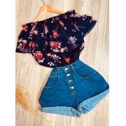 Blusa Ciganinha com Renda Florzinhas Dark Blue