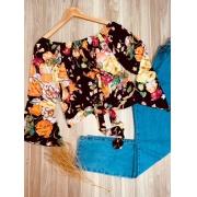 Blusa Ciganinha Cropped Amarrar Manga Flare LB Floral Black