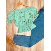 Blusa Ciganinha Cropped com Botões Tatiana Azul Claro