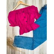 Blusa Ciganinha Cropped com Botões Tatiana Pink